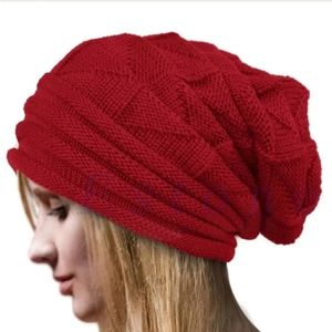 Red Unisex Slouch Knitted Beanie
